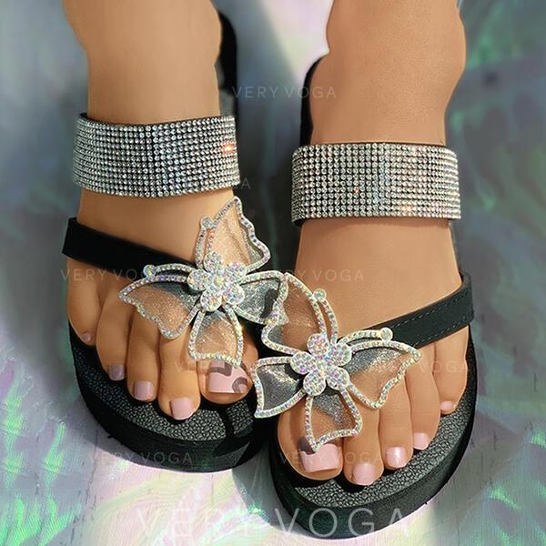 De mujer Cuero satén sedoso Tacón plano Sandalias Planos Chancletas Pantuflas Anillo del dedo del pie con Rhinestone De la mariposa zapatos