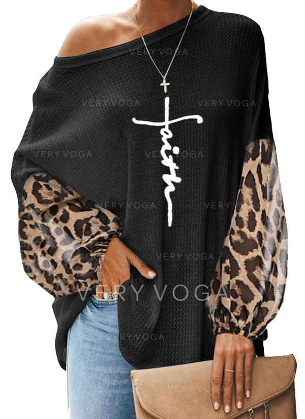 Print Leopard Figure One-Shoulder Long Sleeves Casual Blouses