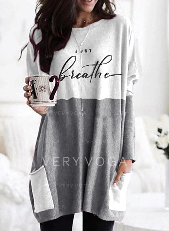Print Color Block Figure Pockets Round Neck Long Sleeves Sweatshirt