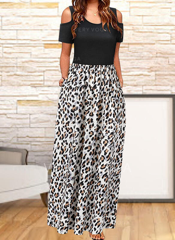 Color Block/Leopard Short Sleeves A-line Skater Casual Maxi Dresses