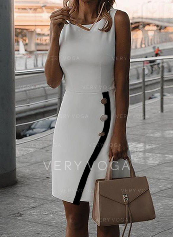 Solid Sleeveless Sheath Knee Length Elegant Dresses