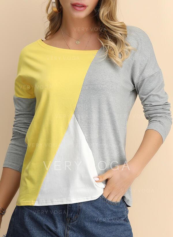 Renk Bloğu V yaka Uzun kollu Günlük Pólók