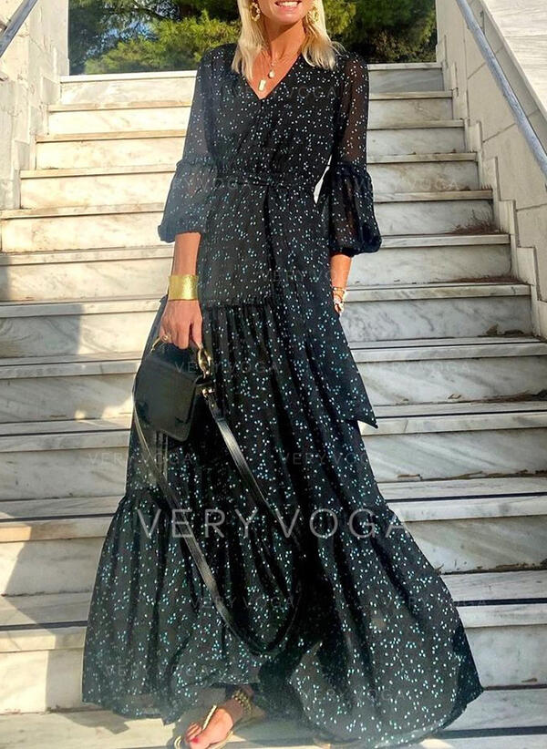 Print 3/4 Sleeves/Lantern Sleeve A-line Skater Casual Maxi Dresses