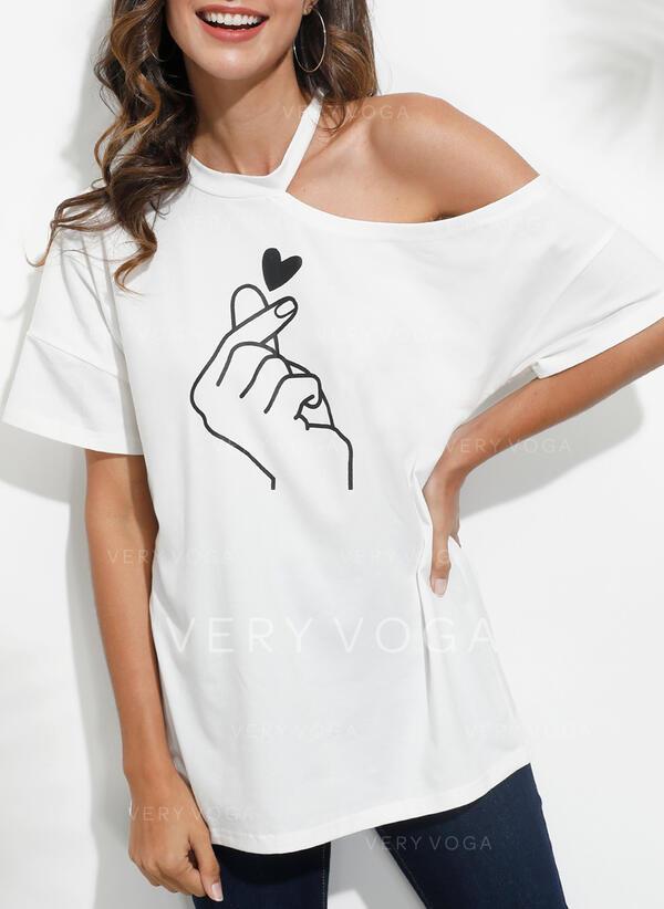 Estampado Coração Um Ombro Manga Curta Casual Blusas