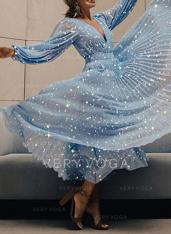 Print Long Sleeves/Puff Sleeves A-line Skater Party/Elegant Maxi Dresses