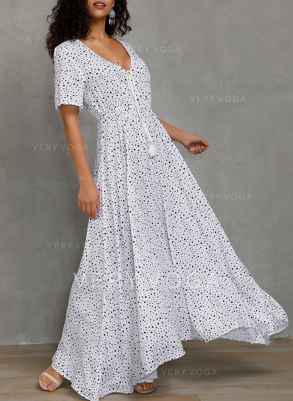 PolkaDot Short Sleeves A-line Skater Casual/Party/Vacation Maxi Dresses