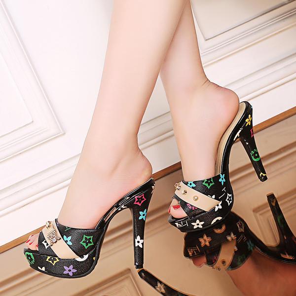 Women's PU Stiletto Heel Sandals Pumps Platform Peep Toe With Others shoes