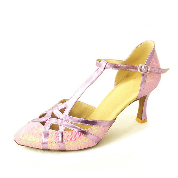 Women's Ballroom Heels Pumps Leatherette With T-Strap Latin