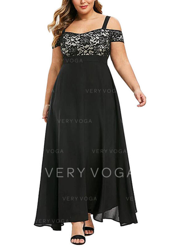 Lace Short Sleeves A-line Party/Elegant Maxi Dresses
