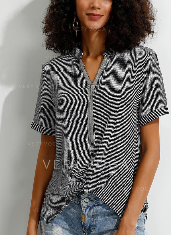 Striped V-neck Short Sleeves Casual Elegant Knit Blouses