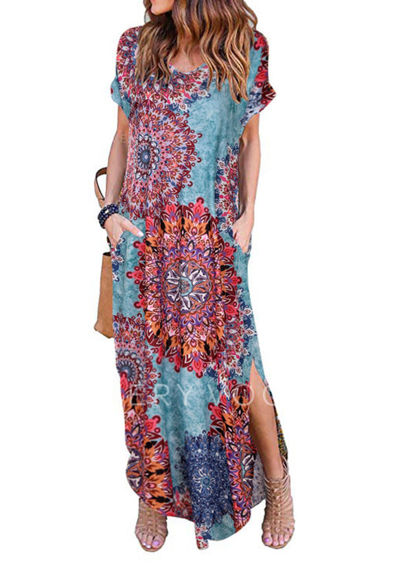 Print Short Sleeves Shift Maxi Casual/Boho/Vacation Dresses