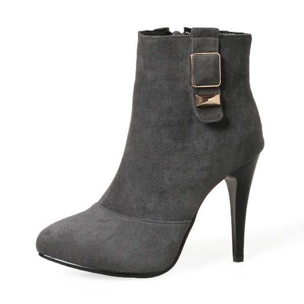 Naisten Mokkanahka Piikkikorko Avokkaat Kengät Mid-calf saappaat jossa Solki Vetoketju kengät