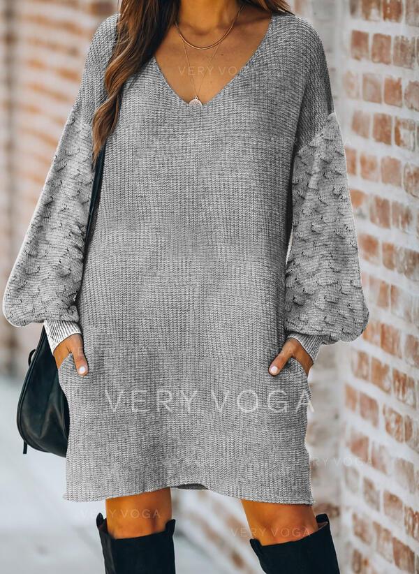 固体 ポケット Vネック カジュアル ロング セータードレス