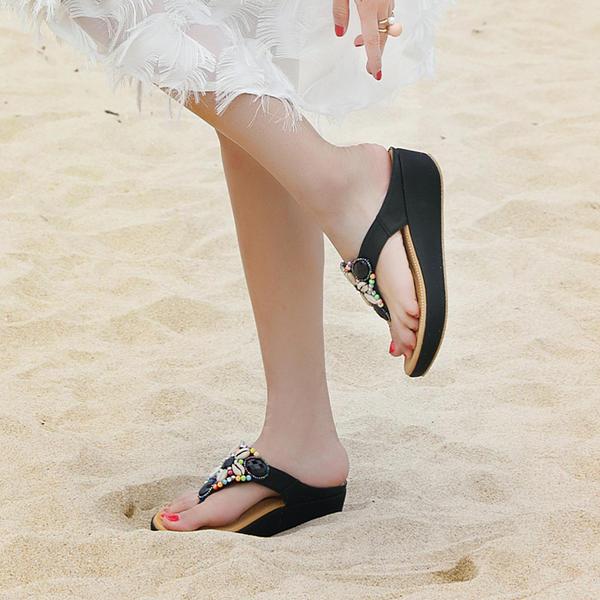 Сандалі Танкетка взуття на короткій шпильці Босоніжки з Сіяючі камені взуття a07529ef243c5