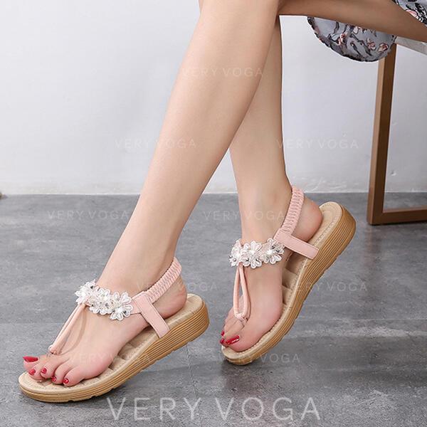 Women's PU Flat Heel Sandals Flip-Flops With Others shoes