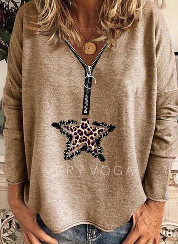 Pailletter Leopard V-hals Lange ærmer Casual Skjorter