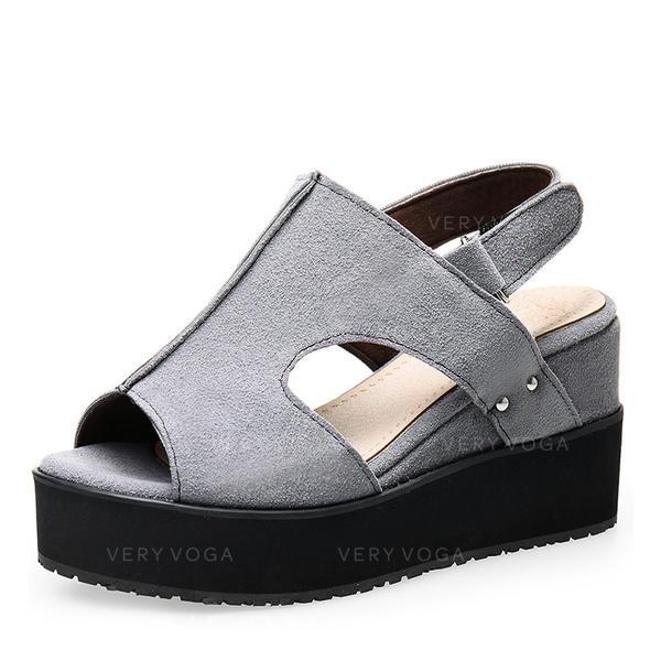 Femmes Suède Talon compensé Sandales Escarpins Compensée À bout ouvert avec Autres chaussures