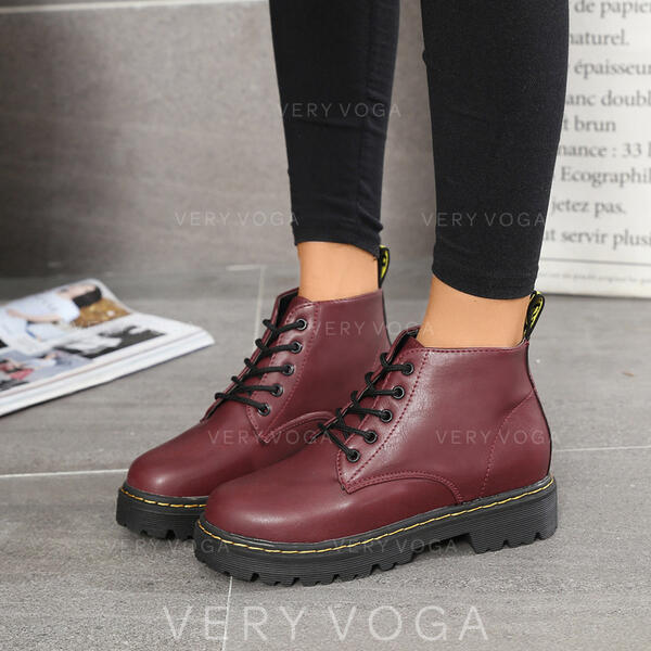 De mujer PU Tacón bajo Cerrados Botas Botas al tobillo Martin botas Encaje con Cordones zapatos