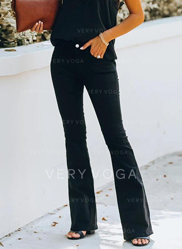 Solid Shirred Long Elegant Sexy Denim & Jeans