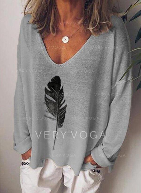 Print V-Neck T-shirt
