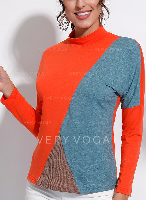 Bloco de Cor Gola Subida Manga Comprida Casual Camisetas