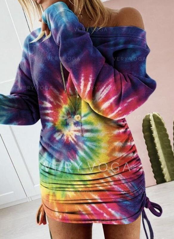 Tie Dye Manches Longues Moulante Au-dessus Du Genou Décontractée Robe Sweat Robes