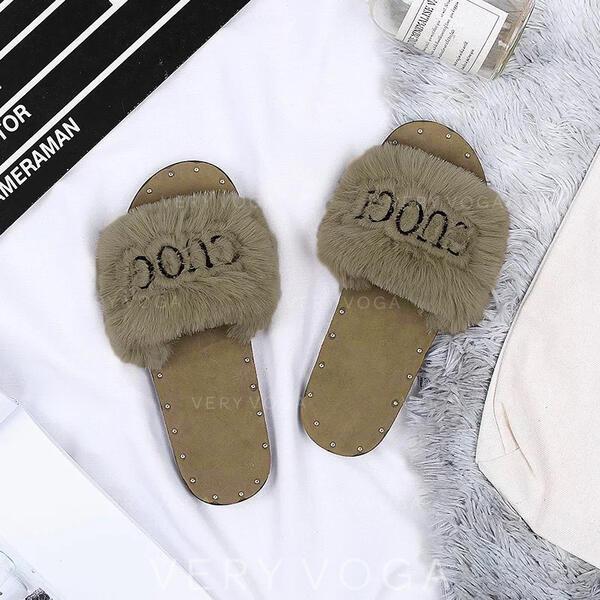 Frauen Stoff Flascher Absatz Pantoffel mit Niete Pelz Schuhe