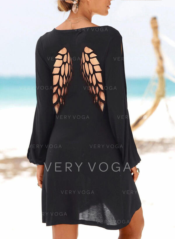 固体 長袖 シフトドレス 膝上 リトルブラックドレス/カジュアル チュニック ドレス