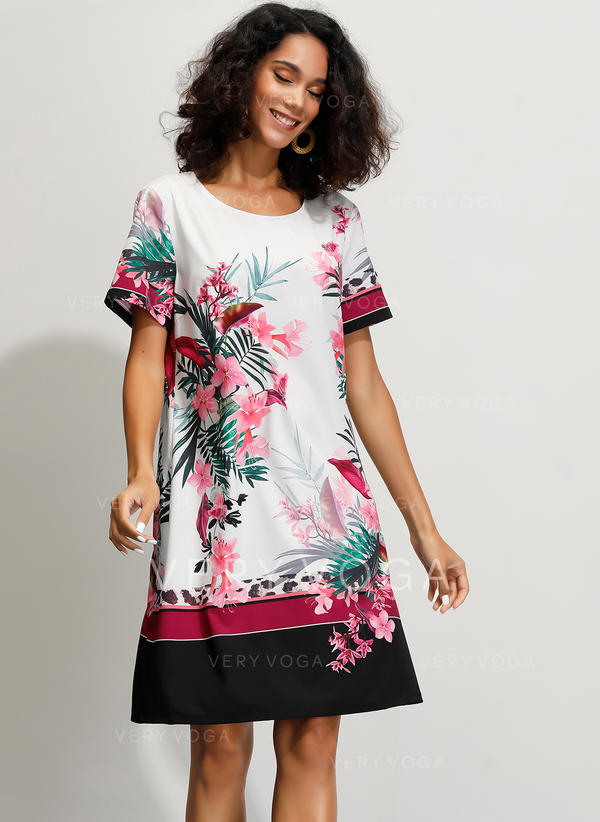 Print/Floral Short Sleeves Shift Knee Length Casual Dresses