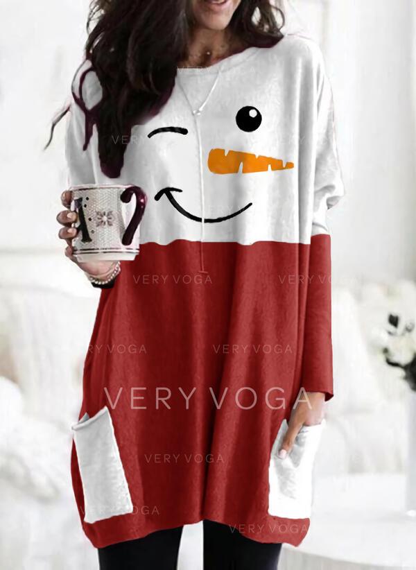 Print Color Block Pockets Round Neck Long Sleeves Christmas Sweatshirt