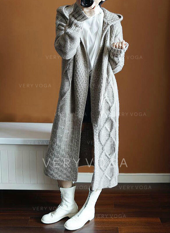Solid Cable-knit Hooded Cardigan