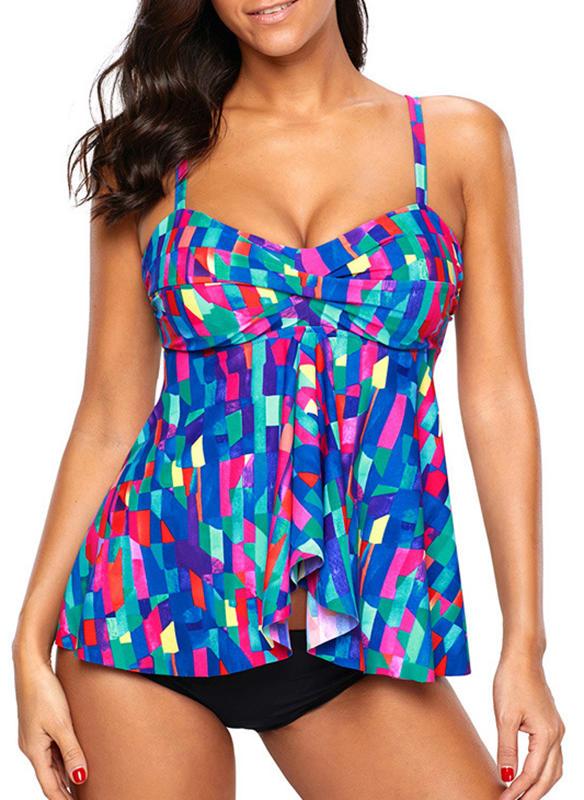 Colorful Strapless Elegant Plus Size Tankinis Swimsuits