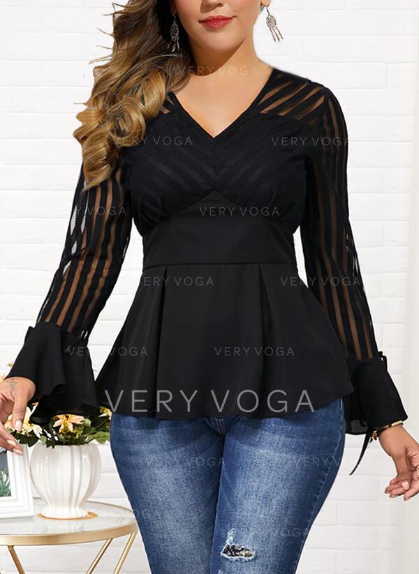Solide V-hals Flare Mouw Lange Mouwen Casual Elegant Grote maten Overhemd