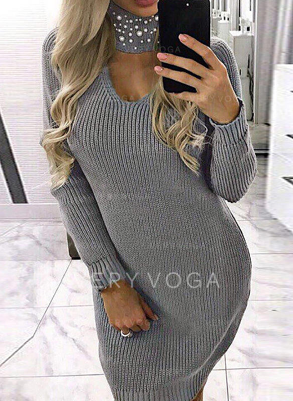 Solid V neck Sweater Dress