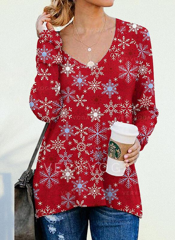 Boże Narodzenie Nadruk Dekolt w kształcie litery V Długie rękawy T-shirty