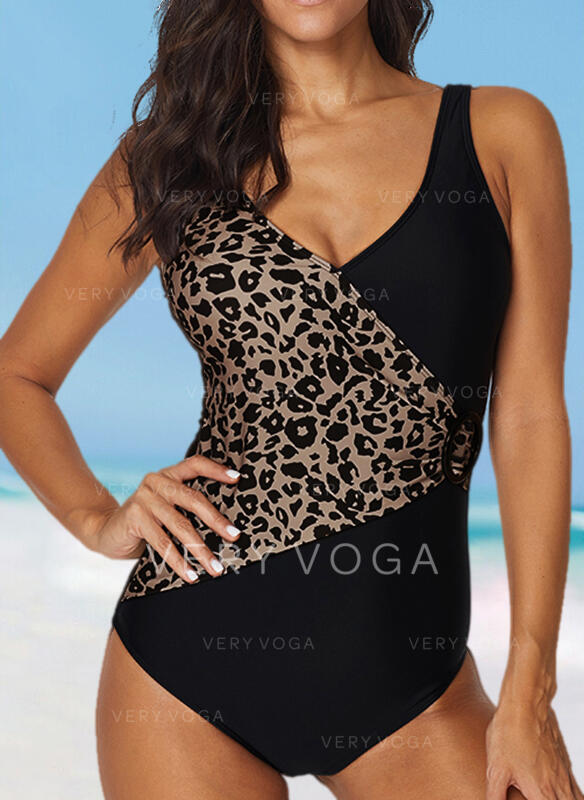 Leopard Cross Strap U-Neck Sexy Plus Size One-piece Swimsuits