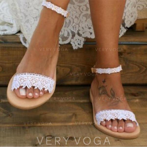 Femmes Similicuir Talon plat Sandales À bout ouvert avec Couture dentelle chaussures
