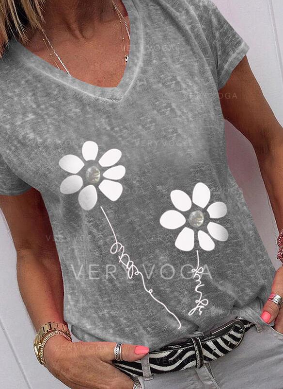 Figur Blomster Print V-hals Korte ærmer T-shirts