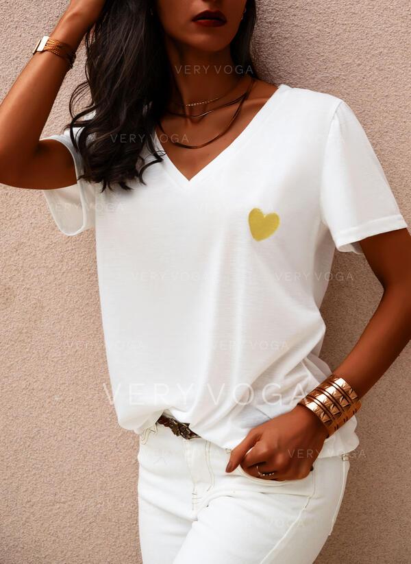 Minta Καρδιά V-nyak Rövidujjú Hétköznapokra Μπλουζάκια