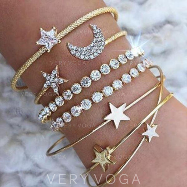 Heart Shaped Alloy Rhinestones With Rhinestone Women's Bracelets (Set of 4)