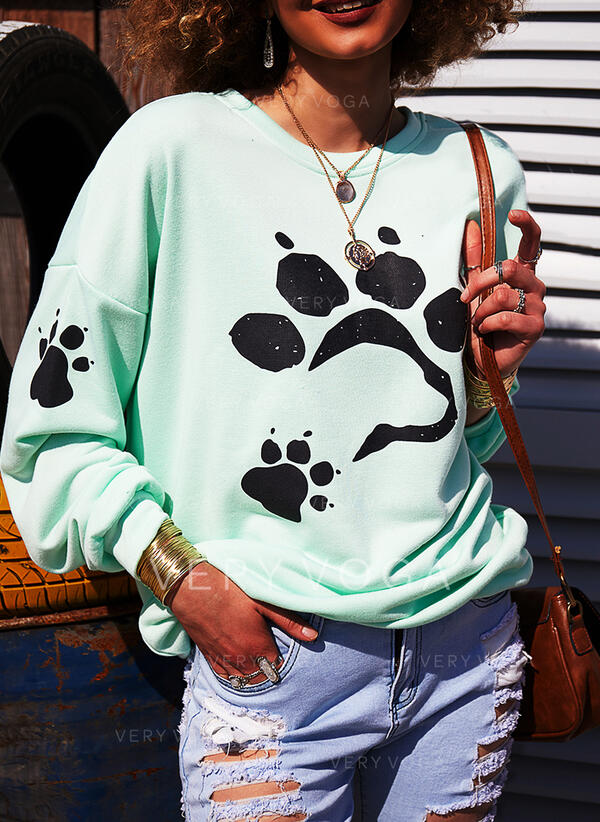 Dyr rund hals Lange ærmer Sweatshirts