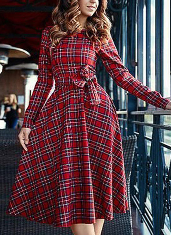 Plaid Long Sleeves A-line Vintage/Christmas/Casual/Elegant Midi Dresses