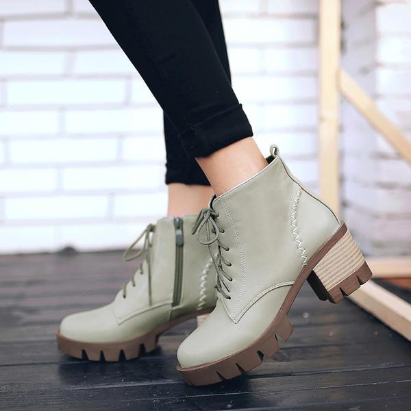 d59bfb6319b De mujer Cuero Tacón ancho Salón Botas Botas al tobillo con Cremallera  Cordones zapatos