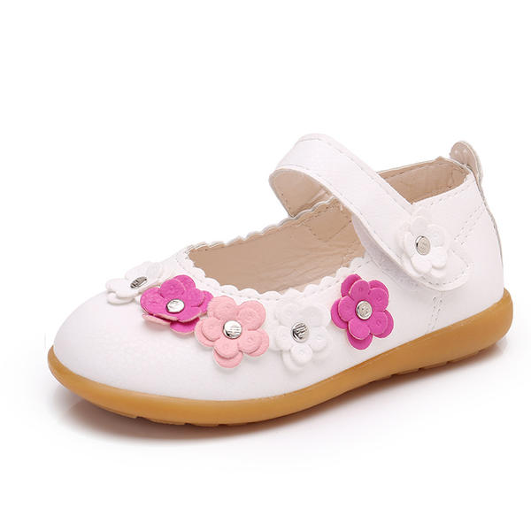 b47daf1bc197a Dziewczyny Skóra ekologiczna Płaski Obcas Zakryte Palce Plaskie Buty Flower  Girl Z Rzep Kwiaty Nit