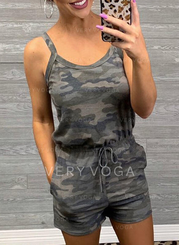 Camouflage Strap Sleeveless Casual Romper