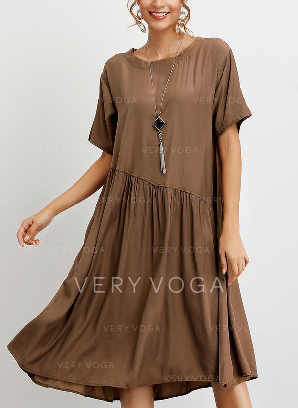 Solid Short Sleeves Shift T-shirt Casual Midi Dresses