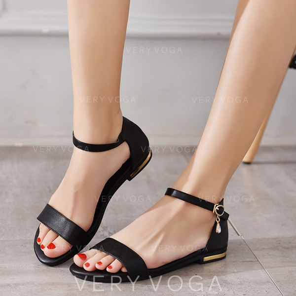 69ad1d2d44 Women's Real Leather Flat Heel Sandals Flats Peep Toe With Buckle shoes