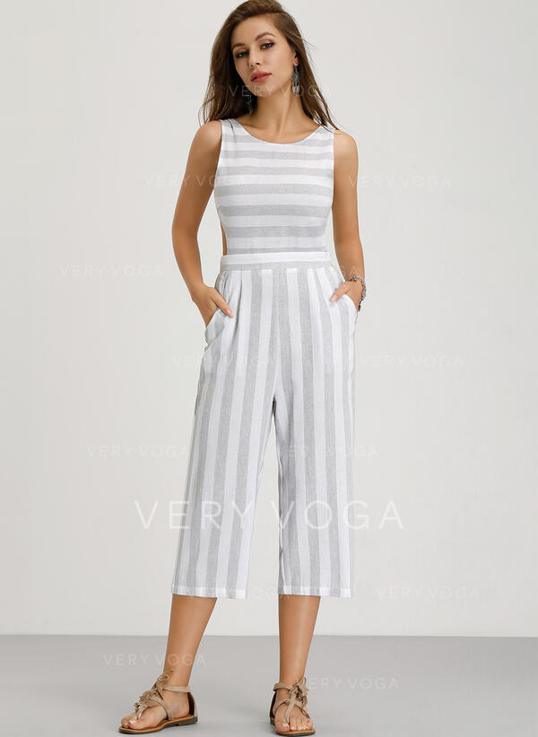 Striped Sleeveless Midi Sexy/Casual Dresses
