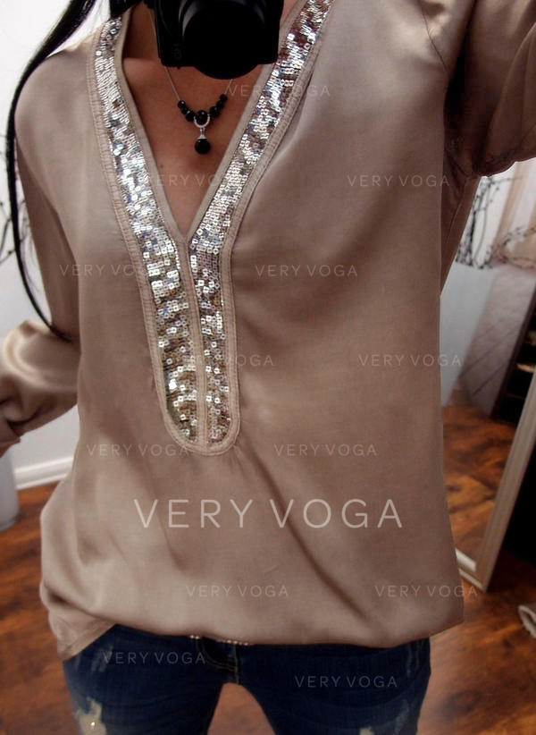 Sequins V Neck Long Sleeves Casual Blouses