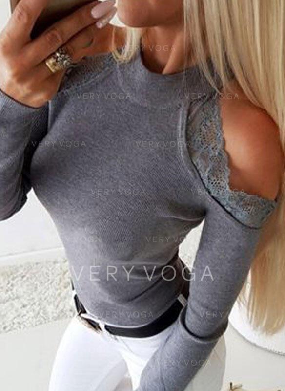 Solido Pizzo Spalle esposte Maniche lunghe Casuale Elegante Maglieria Camicie